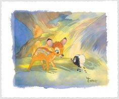 Bambi and Flower by Toby Bluth - Bambi