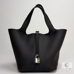 a55f3a027d5 NEW AUTHENTIC HERMES CLEMENCE PICOTIN LOCK MM 22 NOIR BLACK LEATHER TOTE BAG