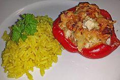 Gefüllte Paprika mit Huhn und Hüttenkäse