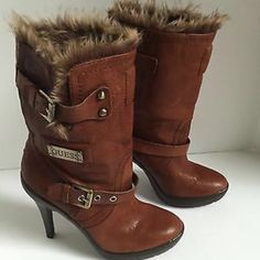 Fur Bootie Heels Super Cute Guess Booties with Faux Fur lining and 4inch heel!!! Buckles on the side. Only wore 2 times, In good condition!! Guess Shoes Ankle Boots & Booties