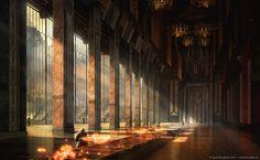 The phenomenal alien worlds concept art of Destiny - 云聚网 Fantasy City, Fantasy Castle, Fantasy Places, Fantasy World, Fantasy Concept Art, Game Concept Art, Fantasy Artwork, Fantasy Art Landscapes, Fantasy Landscape