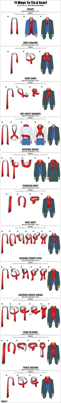 Scarf tricks - while shown with a male figure, these ties would work just as well for a female scarf.