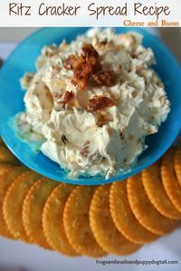 Ritz Cracker Spread Recipe ~ Cheese and Bacon by FSPDT perfect for parties and holiday gatherings Crackers Appetizers, Ritz Crackers, Finger Food Appetizers, Appetizer Recipes, Snack Recipes, Cooking Recipes, Dip For Crackers, Cheese And Crackers, Wedding Appetizers