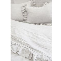 """OverviewNOW 55% OFF Simplicity at its finest. The Charlie Bedding Collection features a charming 4"""" ruffle that surrounds both the duvet cover and shams, making this collection a staple in any home. [split]Details & Care: Shell Button Closure - Inserts sold separately - 100% linenMachine wash cold; tumble dry low; warm iron as needed. Do not bleach Click HERE to purchase the matching Big Pillow - Click HERE to purchase the matching Body Pillow ALL SALE ITEMS ARE FINAL NO RETURNS - DYE LOTS MAY V Grey And White Bedding, Grey Bedding, Body Pillow Covers, Duvet Covers, Body Pillow Anime, Boho Duvet Cover, Large Chair, Traditional Market, Big Pillows"""