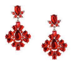 Red Crystal Teardrops Chandelier Drop Earrings
