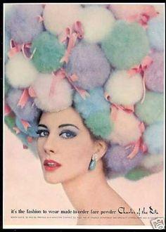1962 powder puff ball wig woman Charles of the Ritz cosmetics vintage print ad Vintage Advertisements, Vintage Ads, Vintage Prints, Vintage Style, Vintage Oddities, Retro Advertising, Vintage Circus, Vintage Magazines, Vintage Items