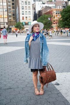 {Happy Labor Day! | Simply Audree Kate} Fall outfit: Striped ruffle dress with lace slip and oversized denim jacket styled with a brown zipper bag and lace-up sandals