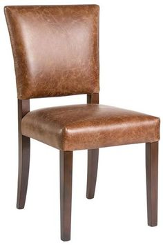 Dining Chair Richmond Pair Brown Top Grain Leather Dark Walnut Birch Wood