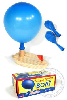 Remember the classic wooden Balloon Powered Boat? Just place an inflated balloon on the boat's