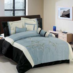 R-T 1693 Black/Ivory/Bluish-Gray 7-Piece Comforter Set - Quality House