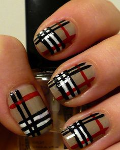 if I had the time Burberry Nails Manicure Fancy Nails, Love Nails, Diy Nails, How To Do Nails, Classy Nails, Xmas Nails, Jolie Nail Art, Do It Yourself Nails, Nagellack Design