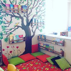 Kitap merkezi okulöncesi Reading Corner Classroom, Diy Classroom Decorations, Home Daycare, Book Corners, Class Decoration, Learning Spaces, Kids Room Design, Salon Design, Kids Corner