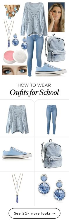 """""""School Blues"""" by eowynthecat on Polyvore featuring 7 For All Mankind, Converse, H&M, Christian Dior, Panacea and Napier"""