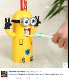 Clean your teeth with MINIONS! Minions Toothpaste Dispenser with Toothpaste Product Name: Automatic Wall Mounted Toothbrush Holder, Toothbrush And Toothpaste Holder, Toothpaste Squeezer, Kids Toothpaste, Bathroom Accessories Sets, Bathroom Sets, Bathrooms, Minion Bedroom, Despicable Me Bedroom