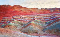 16 Natural Wonders Everyone Should See in Their Lifetime via @MyDomaine Zhangye Danxia National Geological Park, China