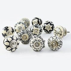 Artncraft Set of 30 Assorted Vintage Black and White Hand Painted Ceramic Pumpkin and Round Knobs Cabinet Drawer Handles Pulls