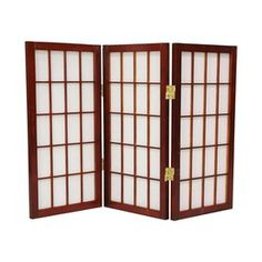 Oriental Furniture 4-Panel Rust/Mocha Woven Fiber Folding Indoor ...