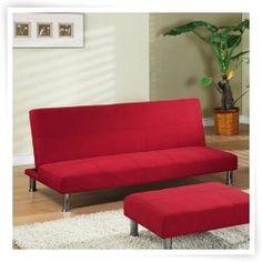 InRoom Designs Klik-Klak Convertible Sofa - Red with Metal Frame