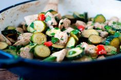 Lemon Parmesan Zucchini and Chicken saute | heatherlikesfood.com
