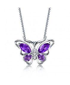 Woman Angel/'s Tear Mystical Purple Amethyst Gemstone Silver Necklace Pendants
