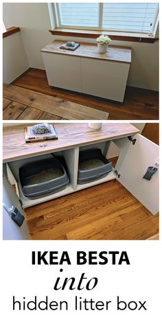 I have 2 cats and no other room to put the litter boxes than in my living room. I know, it's not ideal to say the least, but this cabinet that hids the litter boxes seem to do the trick ! It is a simple Ikea Besta cabinet, I spray painted the legs in gold, added an oak top (I had some unused wood in my garage), and jigsawed 2 holes on each side, and boom ! I'll probably add some nice pulls or handles to complete the project though. Hidden Litter Boxes, Cat Litter Boxes, Cat Boxes, Cat Litter Box Enclosure, Cat Room, Cat Furniture, Furniture Ideas, Furniture Online, Furniture Outlet