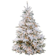 """7'6""""Hx72""""W Heavy Snowed Dorset Pine Lighted Artificial Christmas Tree w/Stand -Snow -- Awesome products selected by Anna Churchill"""