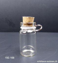 Petite Bouteille à remplir avec bouchon en liège et boucle suspension