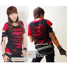 Liquiwork - Red and Black Emo Goth Steam Punk Style Ripped T Shirts Tops