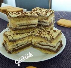 Nem Kell Suti Szelet No Bake Dark And White Chocolate Slices Chocolate Slice, White Chocolate, Chocolate Cakes, Izu, Tiramisu, Baking, Ethnic Recipes, Food, Dark