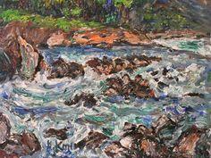 小西安夫「北アルプスの川」(1976年) 油彩6号