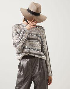 Dazzling sweater (211MAG371208) for Woman | Brunello Cucinelli Knitwear Fashion, Knit Fashion, Mode Crochet, Knitting Paterns, Knit Jacket, Classy Women, Brunello Cucinelli, Sweaters For Women, Outfits
