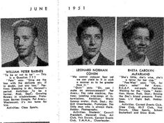 Leonard Cohen's class of 1951 photo from Westmount High School.