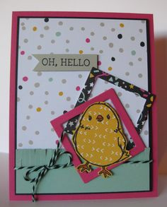 Barb Mann Stampin' Up! Demonstrator - SU - Mary Brown design - Oh, Hello Chicky Card - Honeycomb Happiness (SAB) stamp set