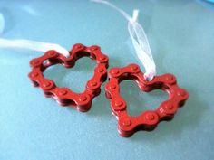 Bicycle Chain Bike Chain Heart Valentines Ornament or Key Chain