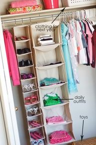 Hanging rack for shoes and weekly clothes. Kids closet organization