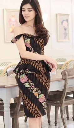 Dress Brokat Satin Beautiful 51 Ideas For 2019 Trendy Dresses, Simple Dresses, Elegant Dresses, Casual Dresses, Fashion Dresses, Batik Kebaya, Batik Dress, Dress Batik Kombinasi, Simple Party Dress
