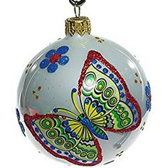 """""""Meadow"""" Christmas Ball Ornament (white background) White Christmas Ornaments, Christmas Candle, Ball Ornaments, Hanging Ornaments, Christmas Balls, Christmas Decorations, Holiday Decor, Wings Design, Hand Blown Glass"""