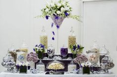 Purple & green & white buffet