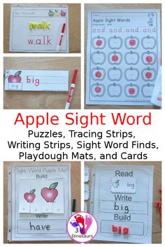 Apple Sight Word Activities: Finds, Playdough Mats, Tracing Strips, Cards, and Puzzles - loads of fun activities for kids to learn their sight words with a fall apple theme - 3Dinosaurs.com #sightwords #learningtoread #3dinosaurs #handsonlearingtoread #tpt #playdoughmats Strip Cards, Puzzle Mat, Autumn Activities For Kids, Apple Theme, Sight Word Activities, Word Puzzles, Hands On Learning, Sight Words, Learn To Read