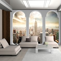 VLIES Tapete Fototapeten New York STADT AUSBLICK PANORAMA FENSTER 14N2344VEXXXL 3d Wall Murals, 3d Wallpaper, Oversized Mirror, Windows, Ebay, Interior, Furniture, Home Decor, Poster