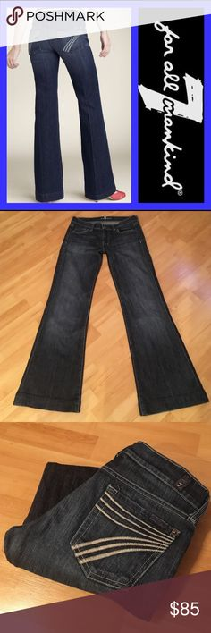 """7 for all mankind: Dojo - size 26 Classic Dojo in excellent condition!!! Back pocket stitching is not stark white in color... It is a slight """"eggshell"""" or """"extremely pale grey"""" color. This IS the original factory stitch color😊. Inseam: 30"""", Rise: 7.5"""", Leg opening: 20"""". They measure 14"""" across the top when laying flat. 98% cotton, 2% spandex:) 7 For All Mankind Jeans Flare & Wide Leg"""