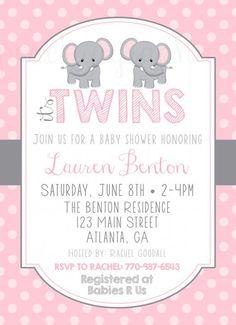 elephant twins baby shower invitation - Google Search