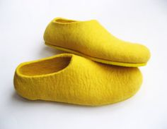 Eco Friendly Felted Shoes Sunny with Yellow Color Sole. Indoor Outdoor. Comfort Womens sizes