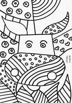 Coloring pages of the painter Romero Britto Works kunst Doodle Art, Zen Doodle, Documents D'art, Colouring Pages, Coloring Books, Britto Disney, Arte Elemental, Classe D'art, Art Handouts