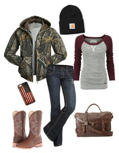 """fall love"" by awesome-countrygirl ❤ liked on Polyvore featuring Carhartt, Realtree, Superdry, See Thru Soul, Retrò, Roper and Frye"
