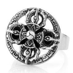 925 Sterling Silver Vajra Cross Ring Gift For Men