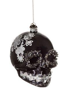 Sugar Skull Glitter Ornament in Black