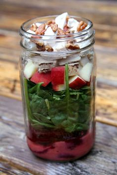 33 Healthy Mason Jar Salads - Grilled Chicken, Beet, Apple and Spinach Salad