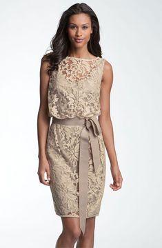 ShopStyle: Tadashi Shoji Lace Overlay Ribbon Dress