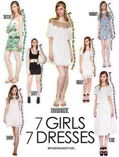Pixie Market SUB: 7 Girls 7 Dresses 7 tipologie di look interpretate in modo assolutamente irresistibile!
